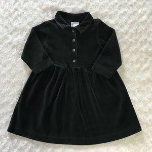 Hanna Andersson 80 Dress Black Velour Long Sleeve